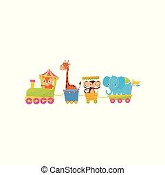 apartamento, vetorial, macaco, coloridos, saudação, train., ou, theme., jardim zoológico, characters., s, livro, desenho, viajando, animal, elefante, girafa, caricatura, crianças, cartão, raposa