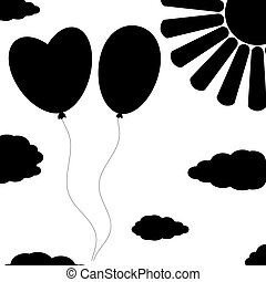 apartamento, vetorial, nuvens, illustration., simples, isolado, saudação, decoração, silhuetas, magazines., experiência preta, sun., branca, suitable, balões, cartões