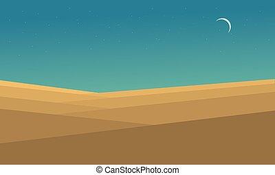 apartamento, vetorial, paisagem deserto, noturna