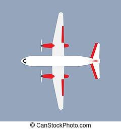 apartamento, vetorial, transporte, curso negócio, airliner, isolado, avião, aviação, vista., topo, transporte