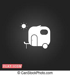 apartamento, viagem, reboque, ícone