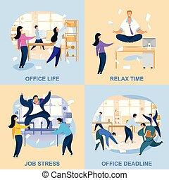 apartamento, vida, escritório, cobrança, vetorial, ilustrações