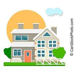 apartamento, vila, casa, pátio, mansão, vetorial, cabana, vista, ou, ícone