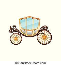 apartamento, vindima, passageiros, grande, convite, real, elemento, carruagem, vetorial, casório, táxi, transport., wheels., horse-drawn