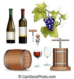apartamento, vinho, cobrança, ícones