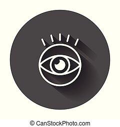 apartamento, vista, olho, pictograma, simples, estilo, longo, vector., shadow., ícone