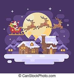 apartamento, voando, inverno, noturna, nevado, reindeer., sobre, claus, três, ilustração, santa, vila, sleigh, desenhado, natal, paisagem