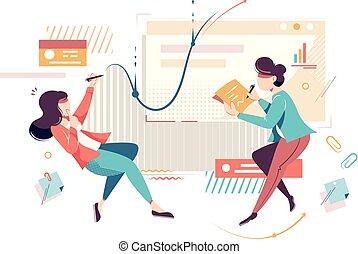 apartamento, work., executiva, jovem, projeto, empregado
