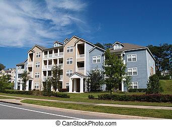 apartamentos, condomínios, 3, townhou, história
