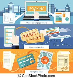 apartamentos, cuentas de la paga, en línea, boleto, orden, reservación