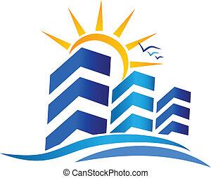 apartamentos, e, sol, bens imóveis, logotipo