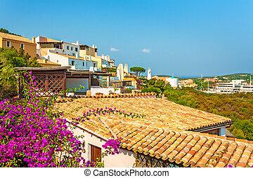 apartamentos, sobre, telhados, casas, vila, vista