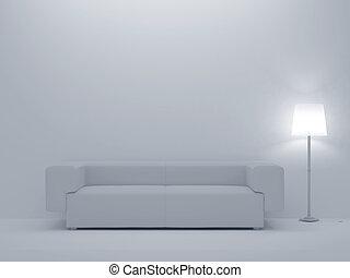 apartment - 3d render home white Interior. High resolution...