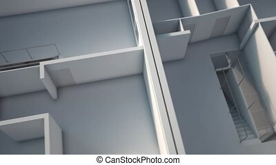 3D rendering of an apartment, upper view showing different rooms and views