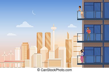 Apartment balcony with city view vector illustration, cartoon flat couple people, man woman characters enjoy panoramic urban cityscape with beautiful modern buildings