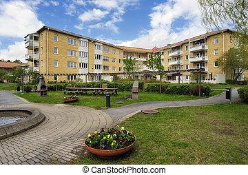 Apartment Block in summer, Stockholm in Sweden.