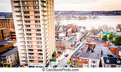 Apartment building and view of neighborhoods along the Susquehanna River in Harrisburg, Pennsylvania.
