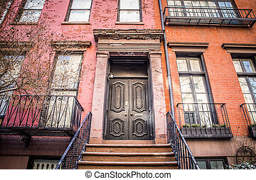 Apartment Building Door NYC - Typical Entrance door to a New...