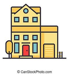 Apartment building flat line illustration, concept vector isolated icon