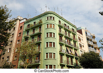 Apartment building in the city of Barcelona, Spain