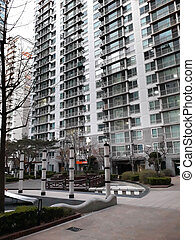 Apartment building in the Mapo area in Seoul, South Korea.