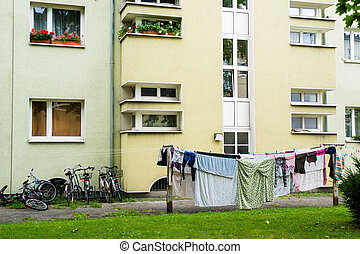 apartment building, laundry day