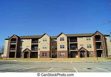 Apartment Building Parking Lot - Apartment in front of...