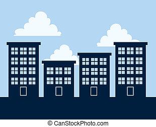 Apartment Building Silhouettes - Apartment building...