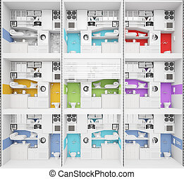 Apartment building illustrations and clipart 69 223 for Apartment structural plans