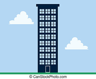 Apartment Building Tall - Tall apartment building with blue...