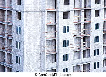 Apartment building under construction.
