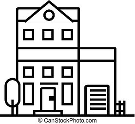 apartment building vector line icon, sign, illustration on background, editable strokes