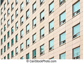 Apartment building with many windows at a university campus