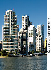 Apartment Buildings - Apartment buildings beside a waterway...