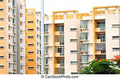 Apartment Buildings - Apartment buildings by the lake in an ...