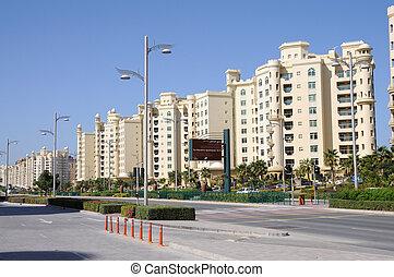 Apartment buildings at Palm Jumeirah, Dubai United Arab...