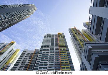 Apartment buildings - Big colorful apartment buildings in ...