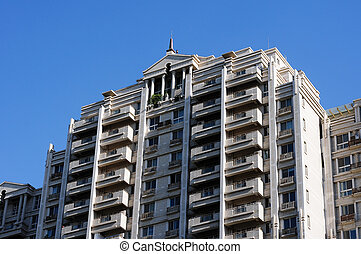 Apartment buildings - Bottom-up view of apartment buildings ...