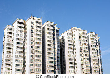 Apartment buildings - Bottom view of modern apartment ...