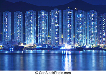 Apartment Buildings in Hong Kong at night