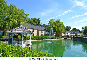 Apartment Community with Pond