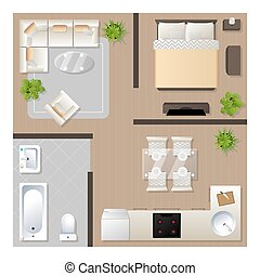 Apartment design with furniture top view, architectural plan, kitchen, bathroom, bedroom and living room, vector illustration.