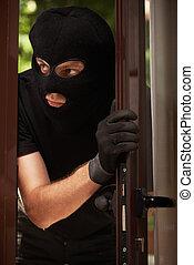 apartment., effraction, masque, voleur