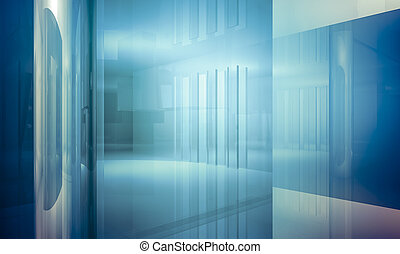 Apartment. Empty office with columns and large windows, Indoor building. business space with blue light effects