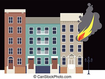 Apartment fire - Flame coming out of a window of an...