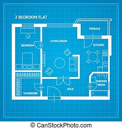 Blueprint with furniture stock illustration search clipart apartment floor plan blueprint vector malvernweather Choice Image