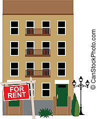 Apartment for rent - Apartment building with a sign for rent...