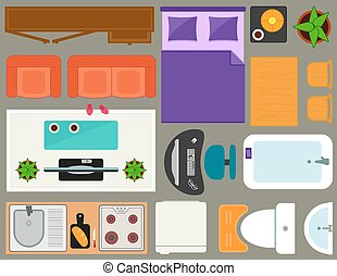 apartment furniture set overhead top view