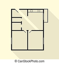 White house floor plan with interior on construction clipart