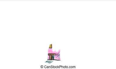 apartment house watercolor drawing isolated on white background video